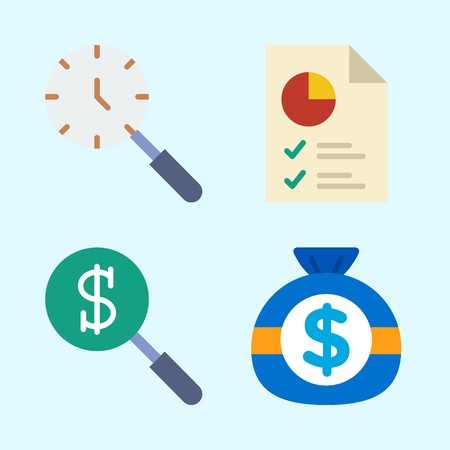 Icons set about Commerce with money, pie chart and search
