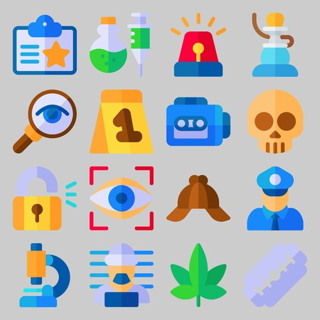 icon set about Crime Investigation. with glass, padlock and skull Stock Illustratie