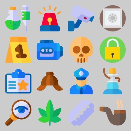 Icon set over misdaadonderzoek. met bewijsmateriaal, schedel en vergrootglas Stockfoto - 102087420