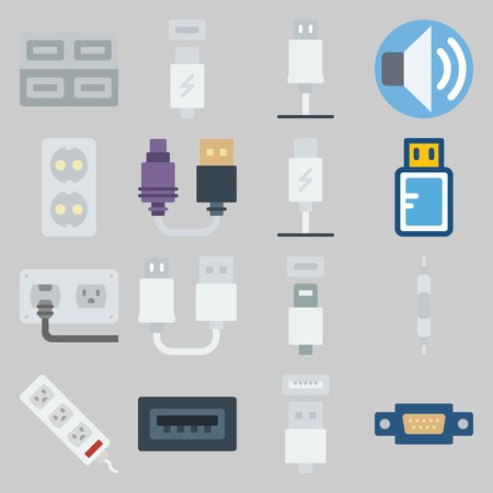 icon set about Connectors Cables. with usb, volume and usb cable 向量圖像