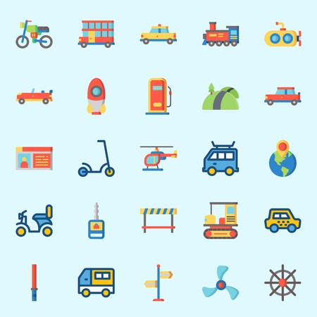 icons set about Transportation. with locomotive, stick, submarine, road, car key and gas station Stock Illustratie