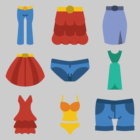 Icon set about Women Clothes with keywords swimsuit, shorts, trousers, skirt, dress and panties