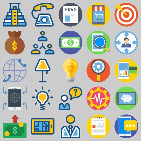 icon set about Marketing. with phone, settings and smartphone Banque d'images - 102087359
