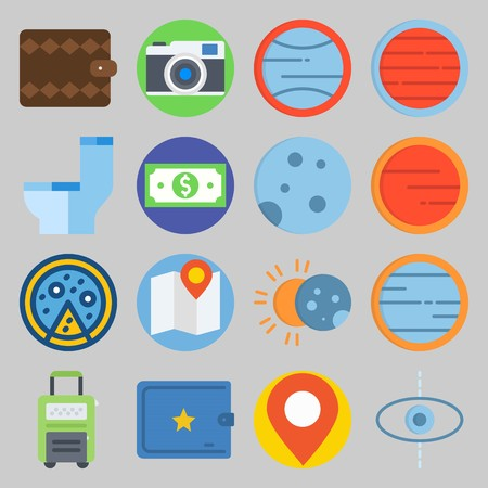icon set about Travel. with photo camera, toilet and planet Banque d'images - 102087361