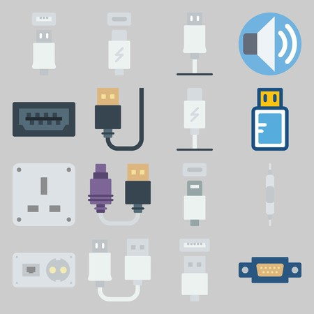 icon set about Connectors Cables. with usb, volume and usb cable Ilustrace