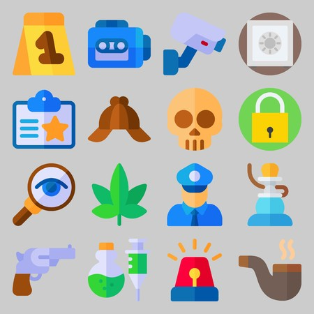 icon set about Crime Investigation. with skull, safebox and pipe