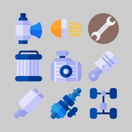 icon set about Car Engine. with car lights, wrench and exhaust Çizim