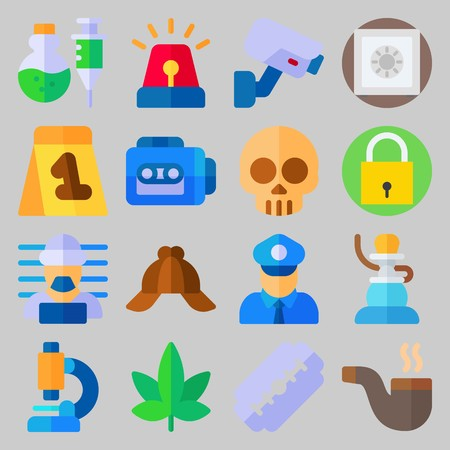 icon set about Crime Investigation. with padlock, shisha and policeman