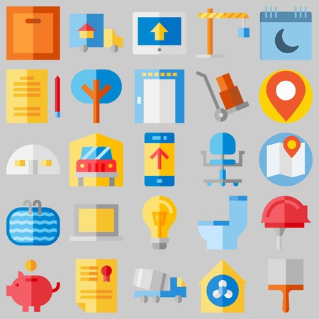 icon set about Real Assets. with wc, winch and savings Banque d'images - 102087367