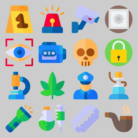 icon set about Crime Investigation. with marijuana, siren and shisha Banque d'images - 102087368
