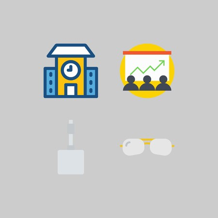 icon set about School And Education. with presentation, school and sunglasses Illustration
