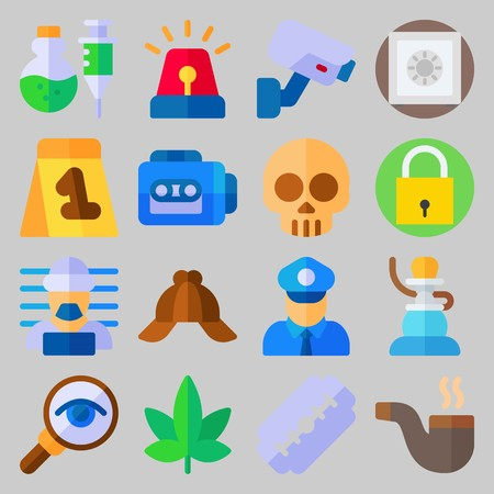 icon set about Crime Investigation. with evidence, criminal and cap Illustration