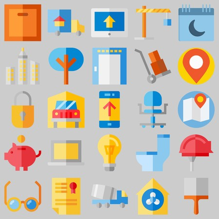 icon set about Real Assets. with tree, savings and toilet Banque d'images - 102087371