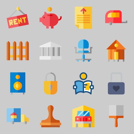 Icons set about Real Assets. with truck, picket and savings