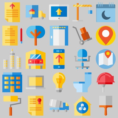 icon set about Real Assets. with wheel chair, ventilation and lamp Illustration