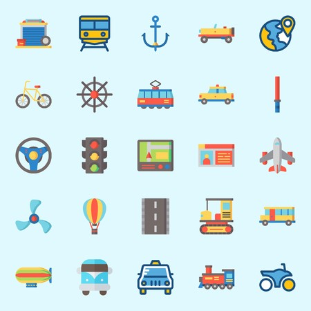 icons set about Transportation. with airplane, tram, van, bicycle, car and rudder Ilustracja