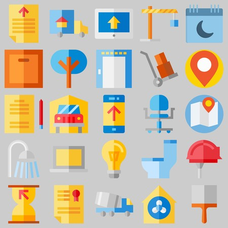 icon set about Real Assets. with ventilation, work tools and toilet Ilustrace