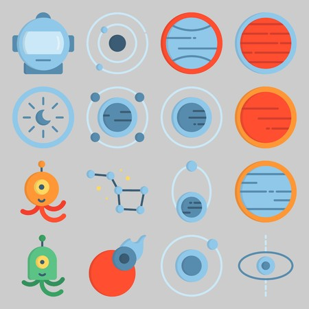icon set about Univerce. with comet, astrology and planet Banque d'images - 102087378