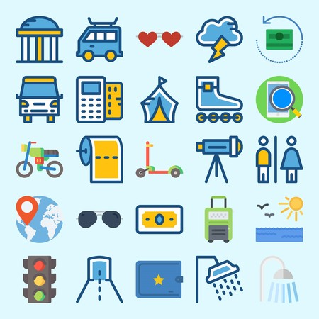 icons set about Travel. with location, roller skate, scooter, worldwide, wallet and suitcase