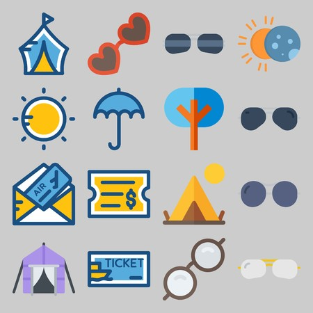 icon set about Beach And Cumping. with sun, ticket and sunglasses Banque d'images - 102087317