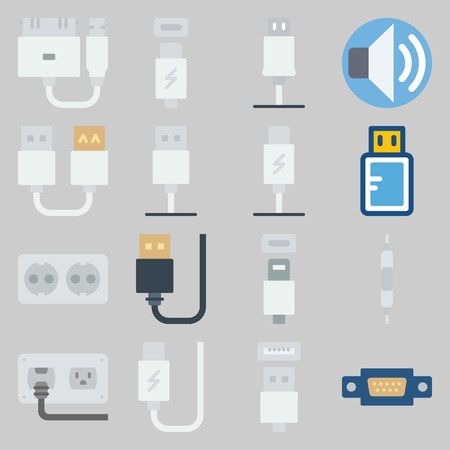 icon set about Connectors Cables. with usb cable, volume and usb