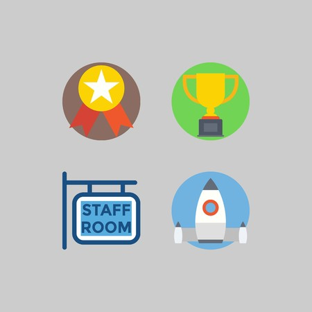 icon set about School And Education. with startup, medal and staff room