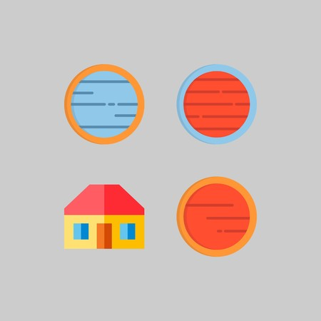 icon set about Travel. with real estate, home and planet Banque d'images - 102087321