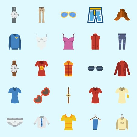 icons set about Man Clothes. with watch, sweater, trousers, sunglasses, sleeveless and vest