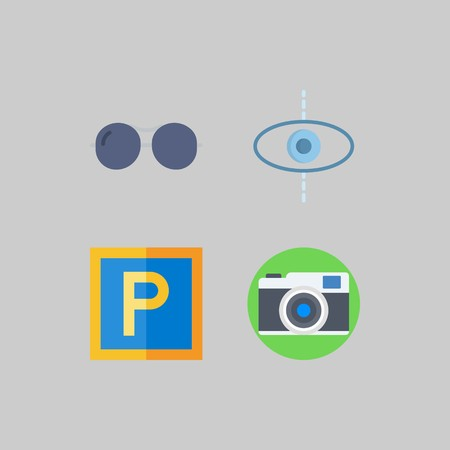 icon set about Travel. with parking, planet and photo camera