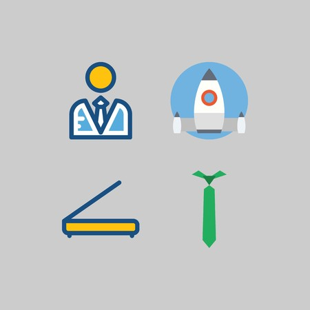icon set about School And Education. with tie, scanner and startup