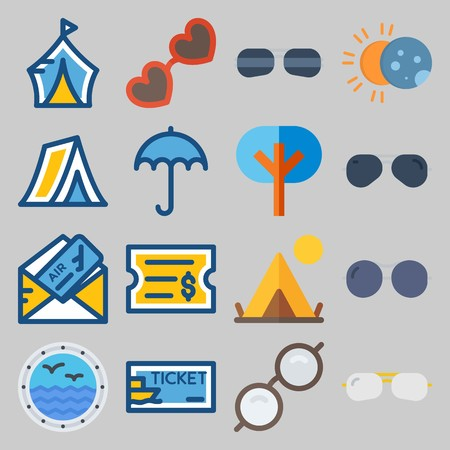 icon set about Beach And Cumping. with ticket, glasses and umbrella Banque d'images - 102087325