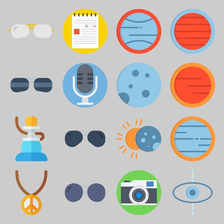 icon set about Hippies. with microphone, planet and sunglasses Illustration