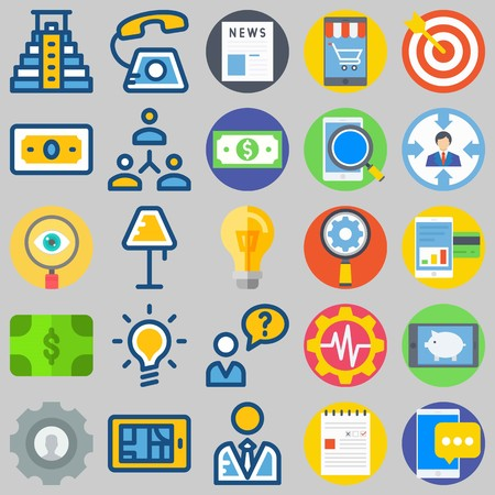 icon set about Marketing. with phone, lamp and pyramid Illustration