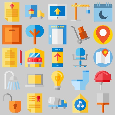 icon set about Real Assets. with tools and utensils, security system and lamp