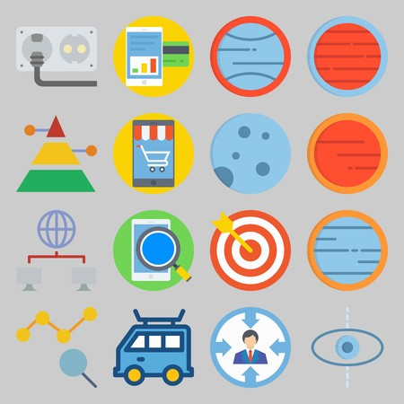 icon set about Transportation. with search, cable and chart