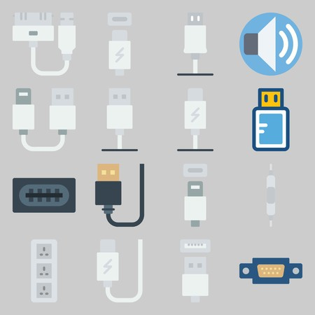 icon set about Connectors Cables. with usb, volume and usb cable Illustration