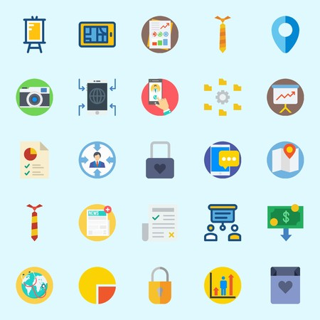 icons set about Digital Marketing. with target, money, padlock, newspaper, map and tie Ilustrace