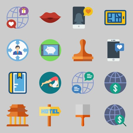 Icons set about Lifestyle. with internet, kiss and religious