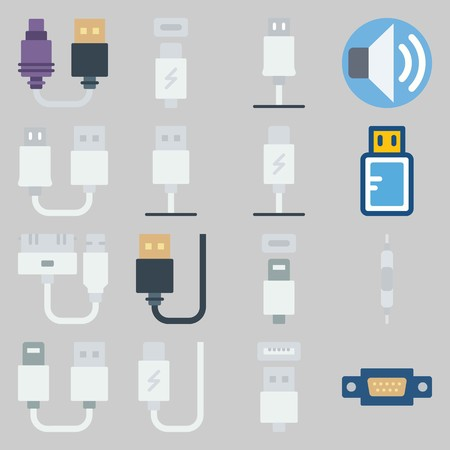 icon set about Connectors Cables. with volume, usb cable and usb Banque d'images - 102087379