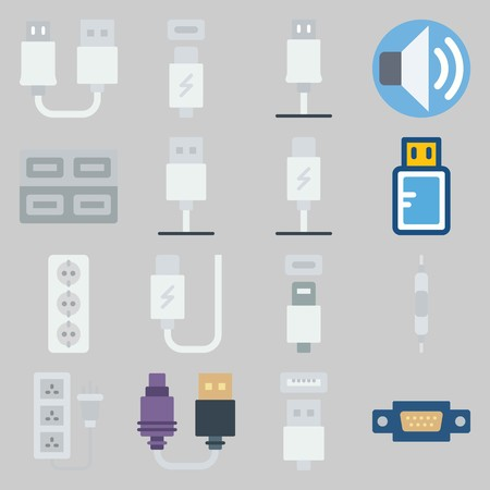 icon set about Connectors Cables. with usb, volume and usb cable Stock Illustratie