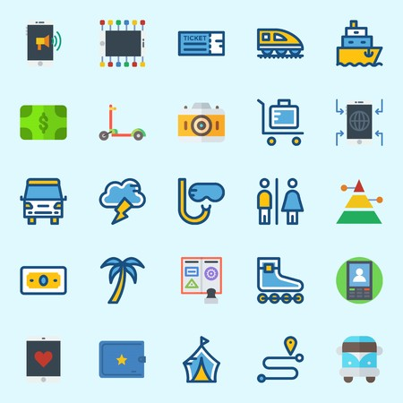 icons set about Travel. with location, palm, toilet, tree, pyramid and snorkel