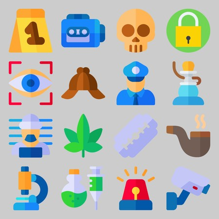 icon set about Crime Investigation. with marijuana, pipe and criminal Banque d'images - 102087271