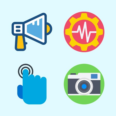 Icons set about Commerce with settings, tap, megaphone and photo camera