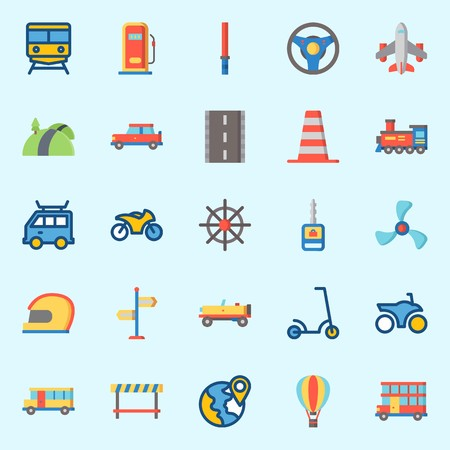 icons set about Transportation. with car, train, steering wheel, cone, rudder and plane