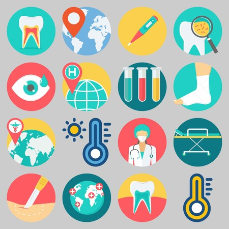 Icon set about Medical with keywords location, visibility, surgery, sprain, tooth and surgeon Banque d'images - 102087275