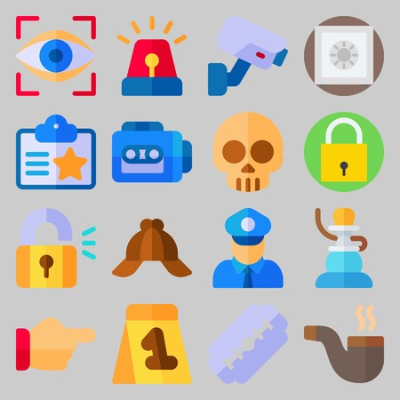 icon set about Crime Investigation. with eye scan, shisha and padlock Ilustrace