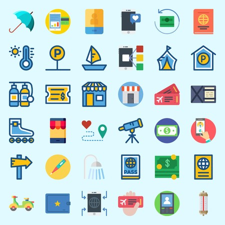Icons about Travel with ticket, money, route, scooter, umbrella and thermometer Banque d'images - 102087280