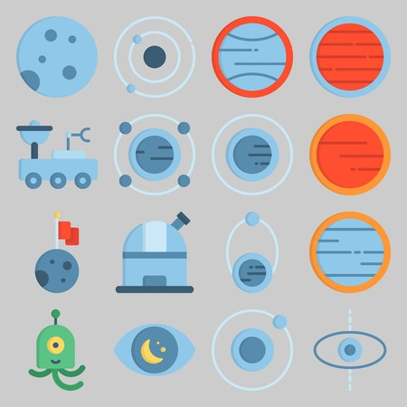 icon set about Univerce. with observatory, orbit and planet
