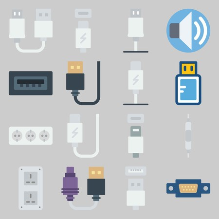 icon set about Connectors Cables. with usb cable, socket and volume