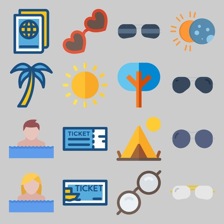 icon set about Beach And Cumping. with sun, glasses and swimmer Ilustrace